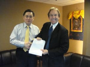 Dr. Winston Wong (Grace THW CEO) and Jeff at the Signing of the Acquisition Agreements